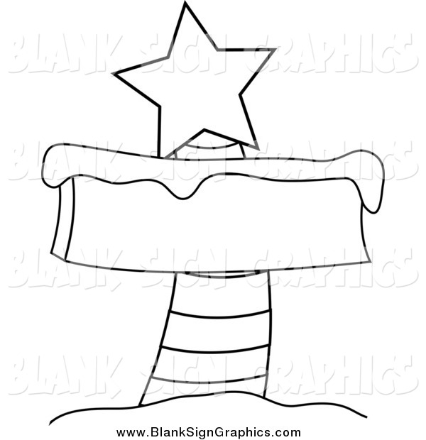 Vector Illustration of a Black and White Blank North Pole Sign.