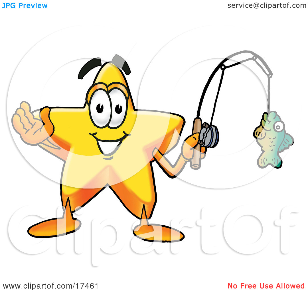Clipart Picture of a Star Mascot Cartoon Character Holding a Fish.