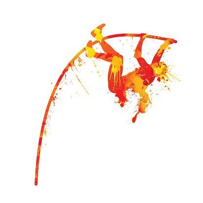 pole vault. Vector splash paint Clipart Image.