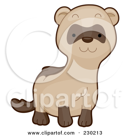 Clipart Illustration of a Cute Brown Weasel With A White Belly.