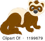 Cartoon of a Colored and Line Art Cute Weasel or Polecat.