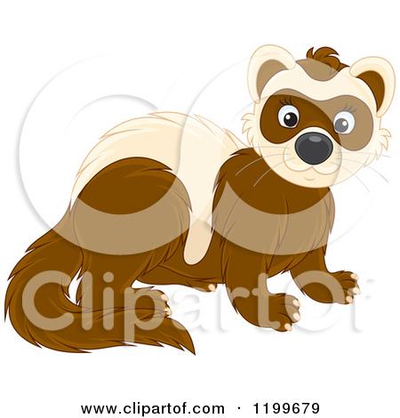Cartoon of a Cute Brown Weasel or Polecat.