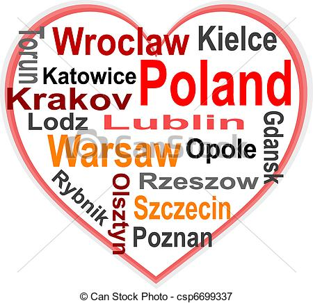 Vectors Illustration of Poland Heart and words cloud with larger.
