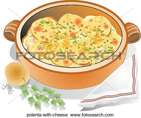 Clipart of Polenta with Cheese polenta.