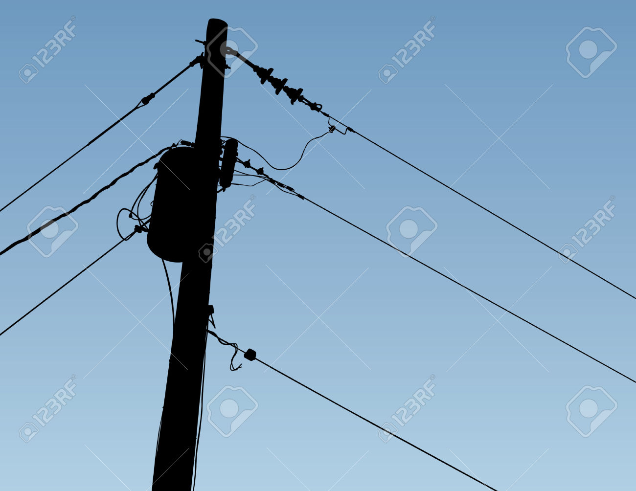 Pole And Wires Silhouette Royalty Free Cliparts, Vectors, And.