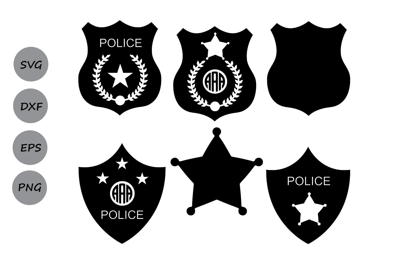 Police Badge SVG, Police SVG, Police Badge Monogram SVG, Sheriff Svg,  Police Badge Clipart Vector, Shield Svg, Dxf, Eps, Police Token Svg..