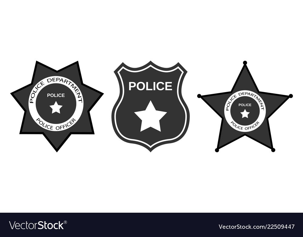 Set police badge with stars in flat style.