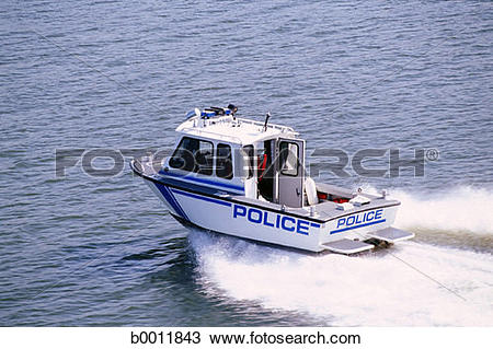 Stock Photo of Police boat on the water. b0011843.