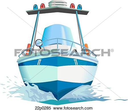 Clipart of police boat.