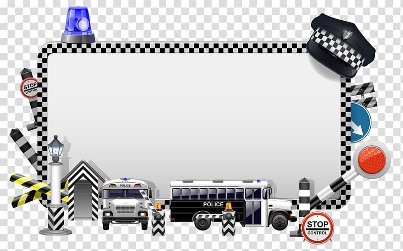 White and black checkered frame, Police illustration.
