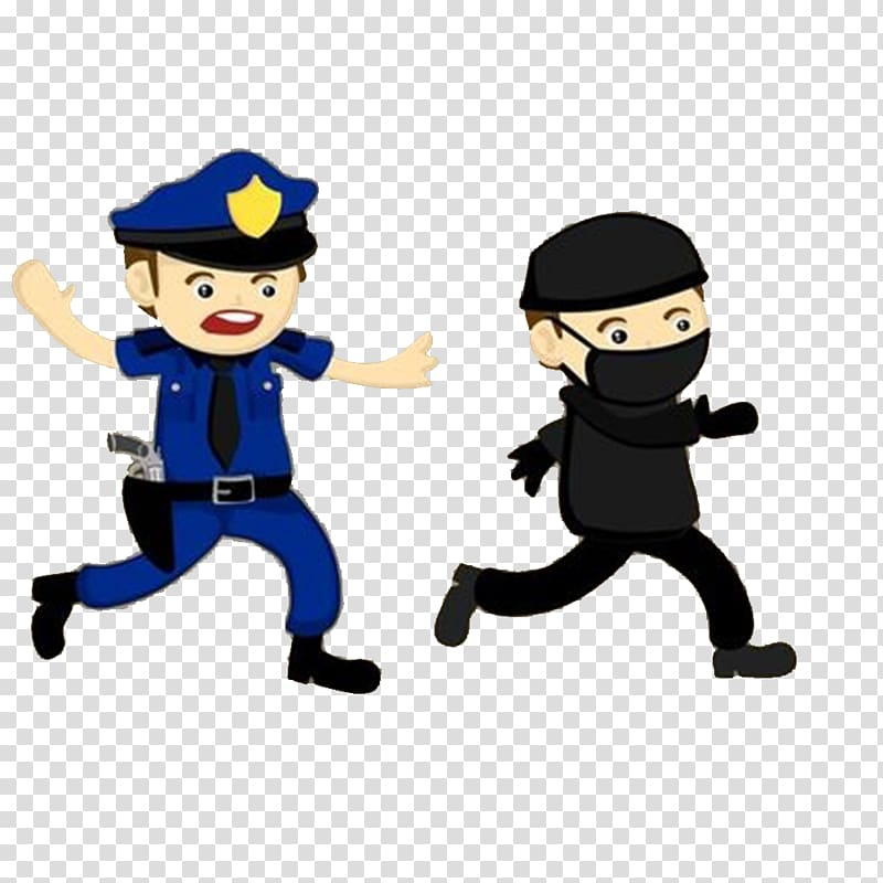 Police chasing thief , Police officer Crime Illustration.