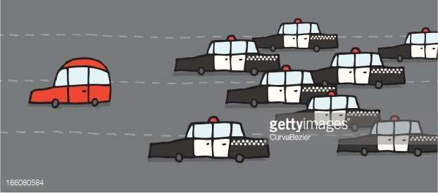 Cartoon police chase Clipart Image.