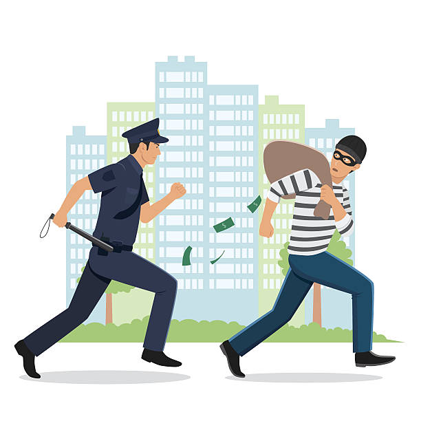 Thief And Police Clipart.