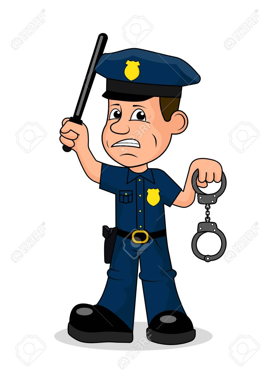 Angry police officer vector illustration. » Clipart Station.