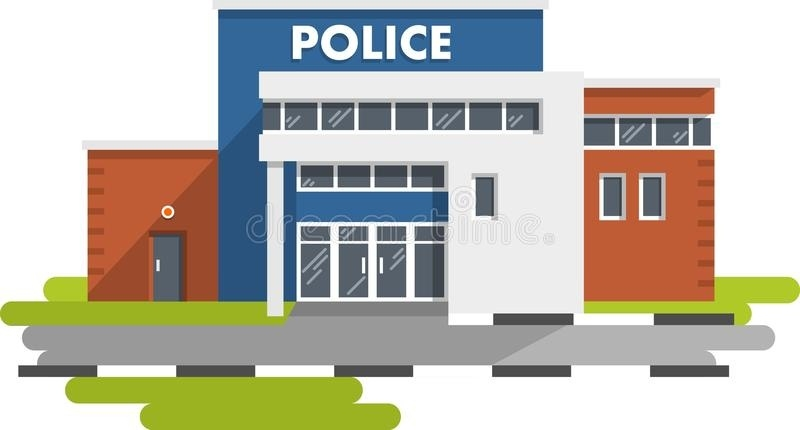 Police Station Building On White Background Stock Vector.