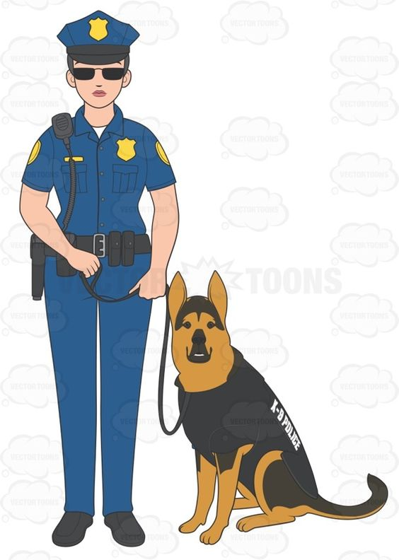 Police officer and dog clipart.