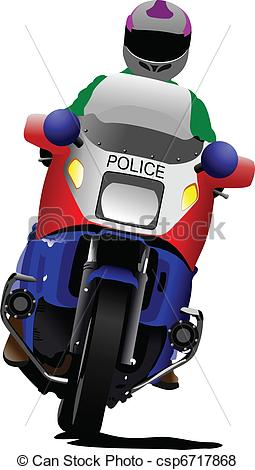 Vector of Policeman on police motorcycle on.