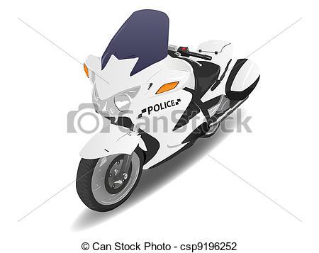 Clip Art of Police Motorcycle Motor Bike Illustration on White.