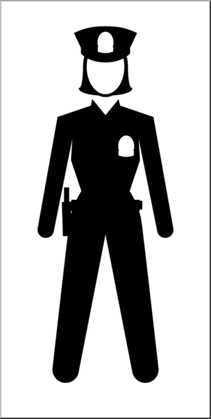 Clip Art: People: Police Officer Female B&W I abcteach.com.