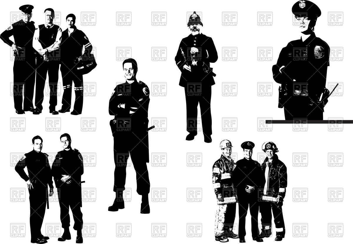 Police Officer Silhouette Vector.