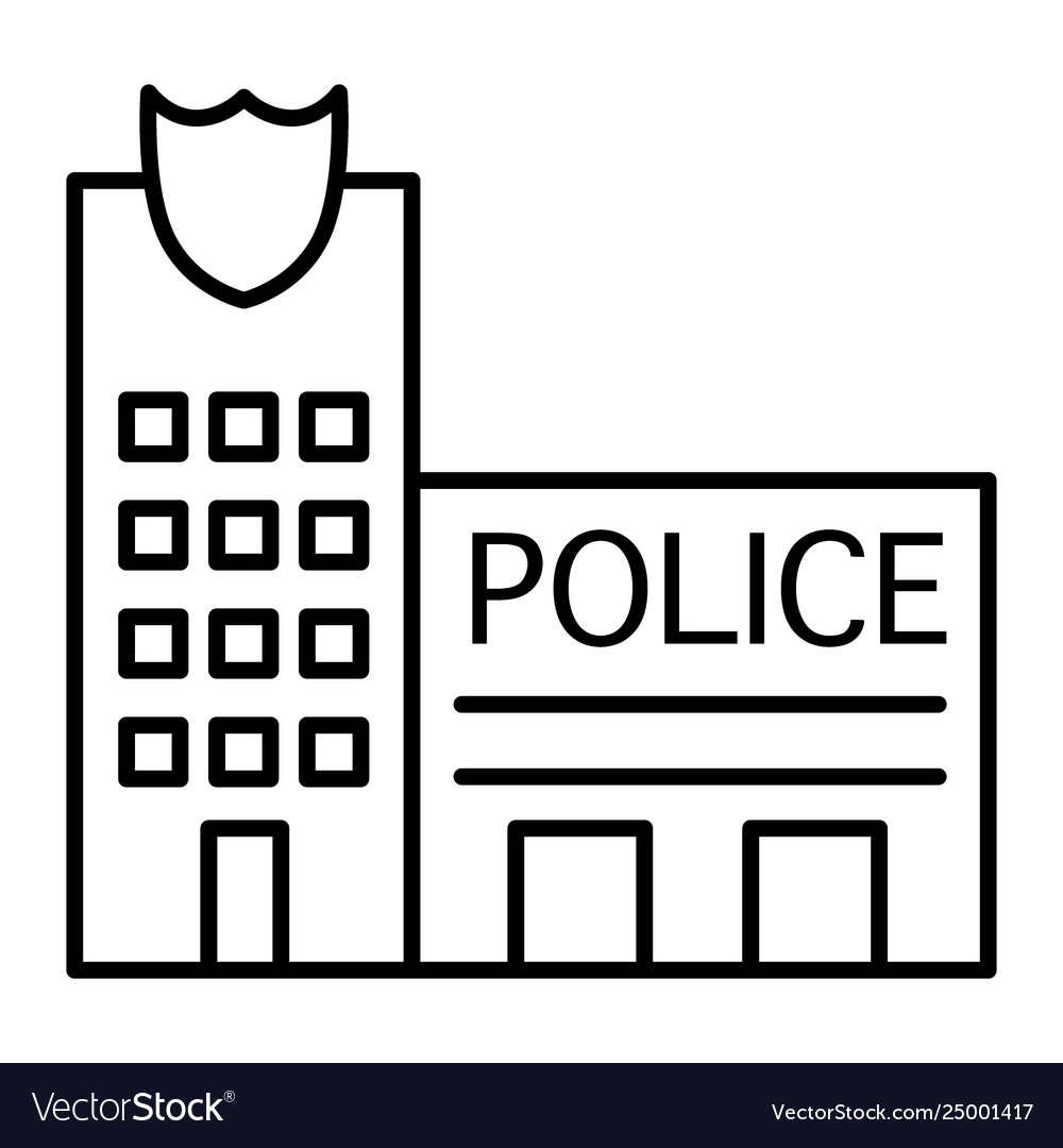 Police office thin line icon police station vector image.