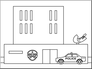 Police station black and white clipart 1 » Clipart Portal.