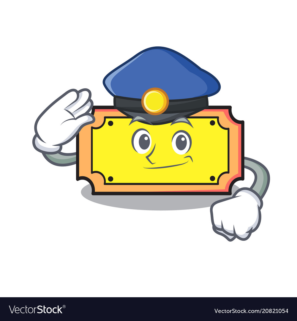 Police ticket character cartoon style.