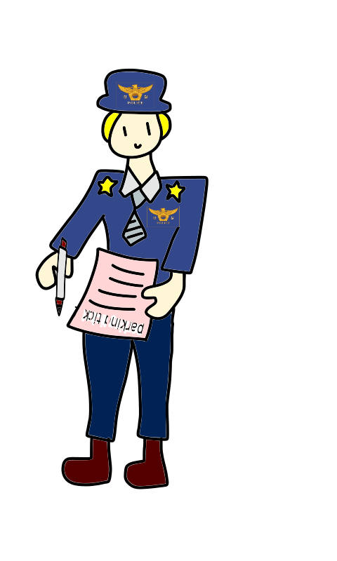 Free Clipart: Police officer with a parking ticket and a pen.