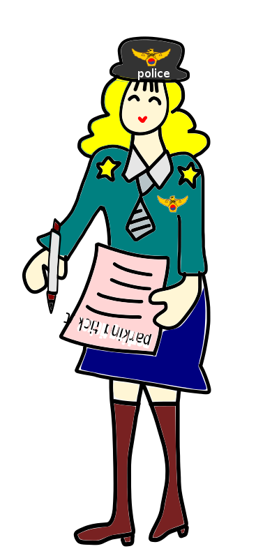 Free Clipart: Police officer woman with a parking ticket.