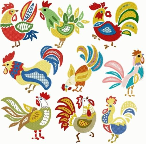 Mexican Rooster Graphic Design Clip Art