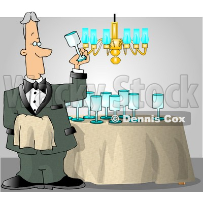 Butler Cleaning and Polishing Wine Glasses Clipart © Dennis Cox #4251.