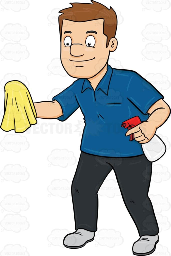 A Man Polishing A Surface With A Cloth Cartoon Clipart.