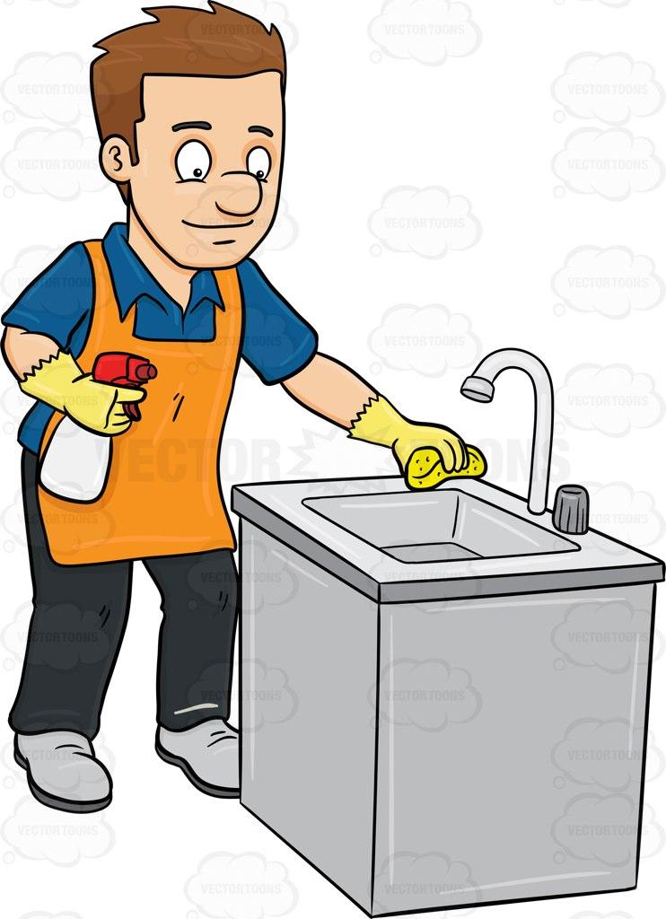 A Man Polishing The Kitchen Sink Cartoon Clipart.