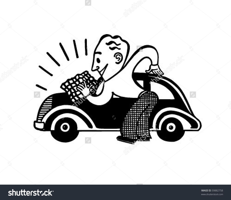 Man Polishing Car Retro Clip Art Stock Vector 59882758.