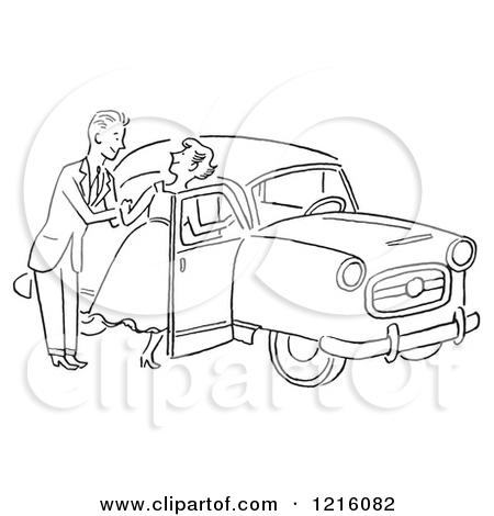 Cartoon of a Retro Polite Gentleman Helping a Lady into a Car, in.