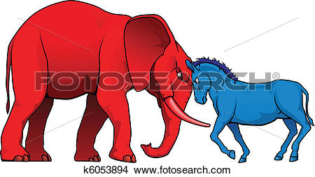 Clipart of American political parties stand.