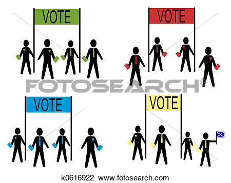 Clip Art of people campaigning for political parties k0616922.