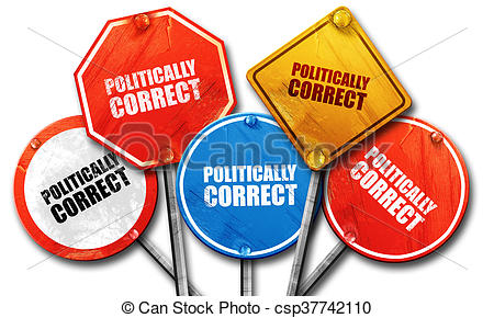 Clipart of politically correct, 3D rendering, street signs.