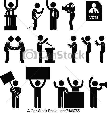 Clipart vettoriali di voto, Politico, elezione, reporter.