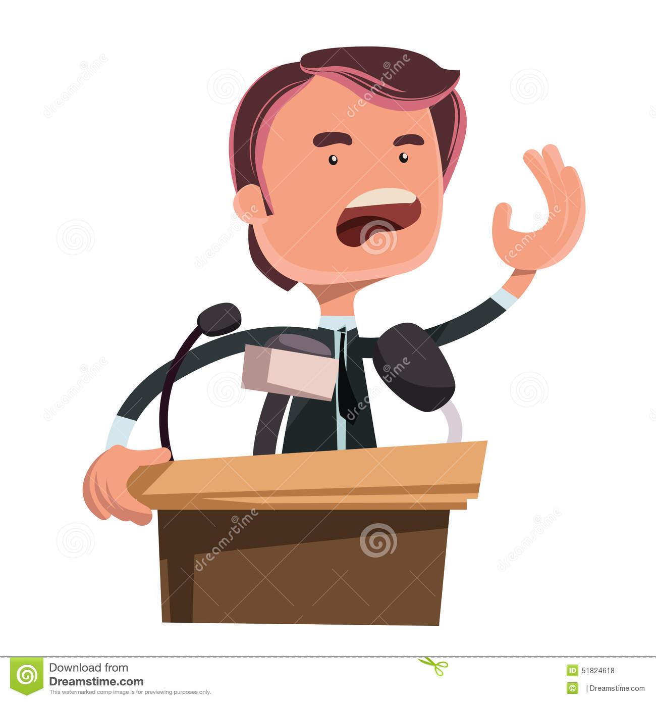 Politician Giving Speech Illustration Cartoon Character Stock.
