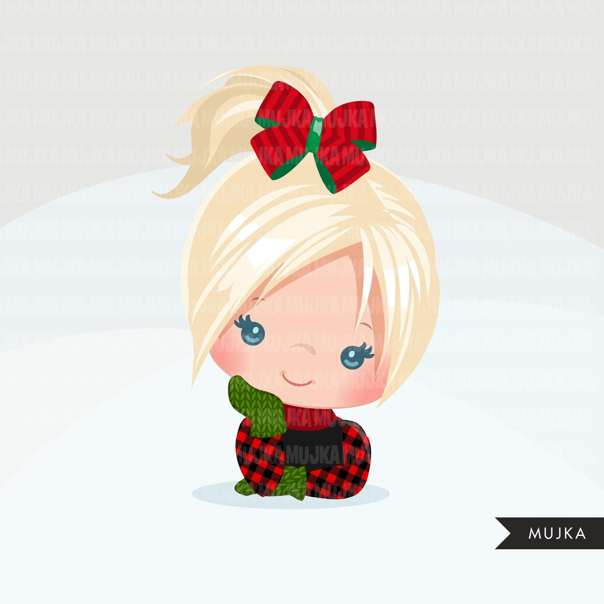 Christmas Hair bows and ribbons clipart, Hair tie, polka.