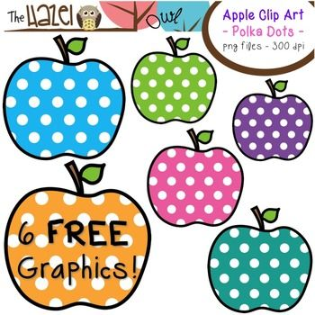 FREE Apples Set: Clip Art Graphics for Teachers {Polka Dots.