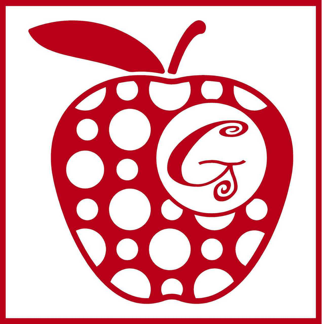 Polka Dot Apple Monogram Vinyl Decal.