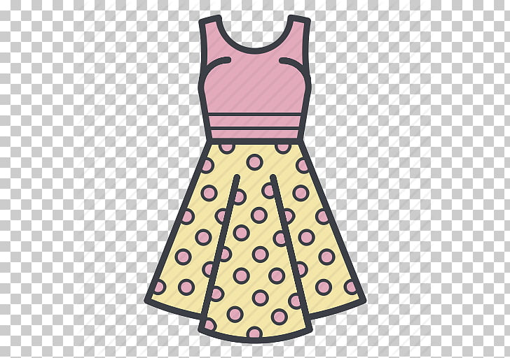 Polka dot Dress Skirt Clothing, Cartoon Dress PNG clipart.