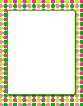 Free Holiday Color Polka Dots Clip Art Frame in Word.