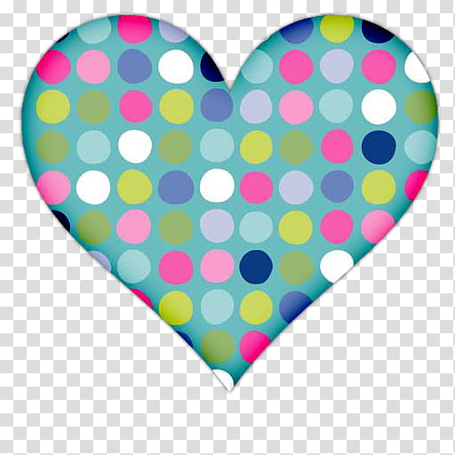 Heart Icons, multicolored polka.