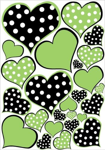 Amazon.com: Lime Green and Black Polka Dot Heart Wall Decals.