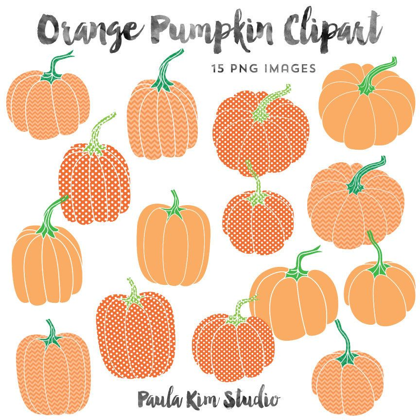 Orange Pumpkin Clip Art, Chevron and Polka Dot Pattern.