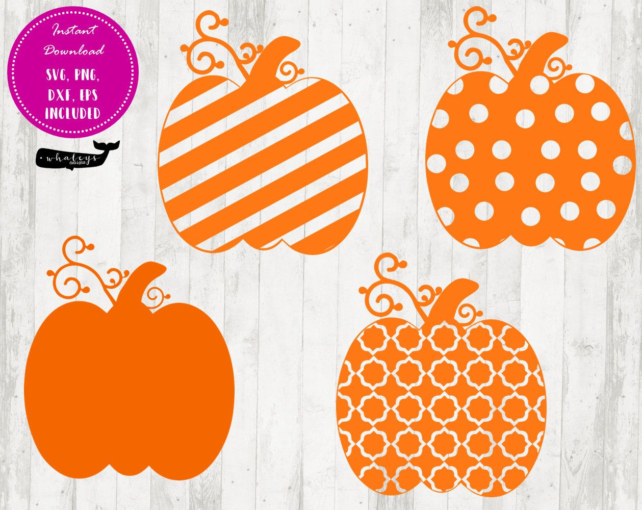 Pumpkin Design SVG Package, Striped Pumpkin, Polka Dot.