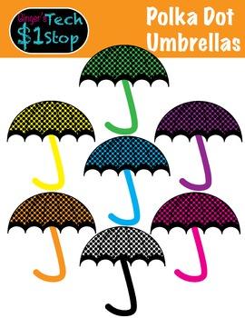 Spring * Umbrella Clipart * Polka Dot * Rainy Days.